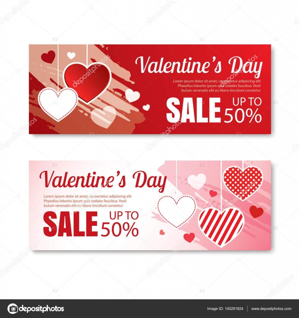 Valentinstag-Angebot, Banner Vorlage. Shopping Markt post ...