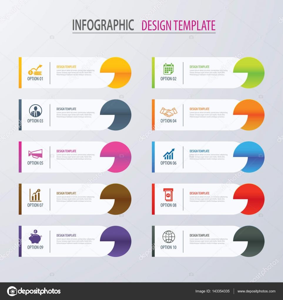 Plantilla de opciones de infografía moderna ficha Índice con hojas ...
