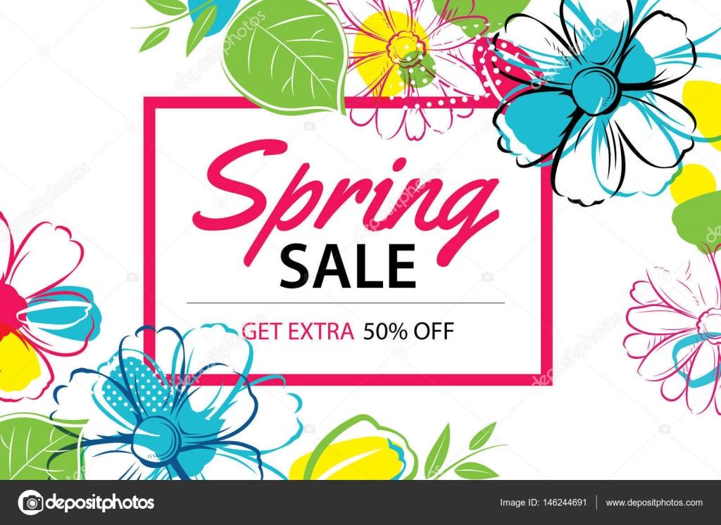 Modelo De Cartaz Primavera Venda Com Fundo Colorido Da Flor