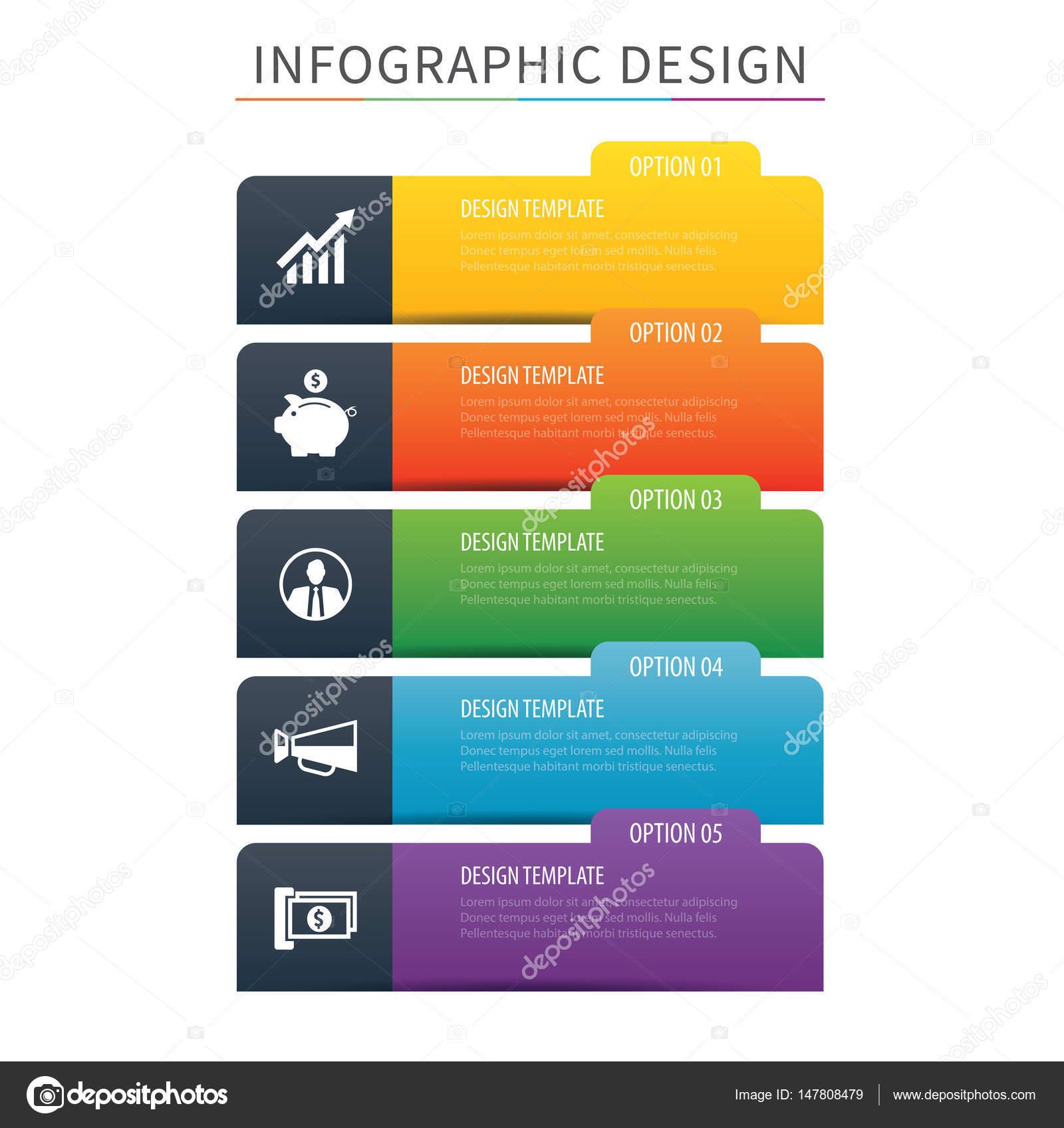 Plantilla de opción 5 infografías ficha Índice. Ilustración de ...