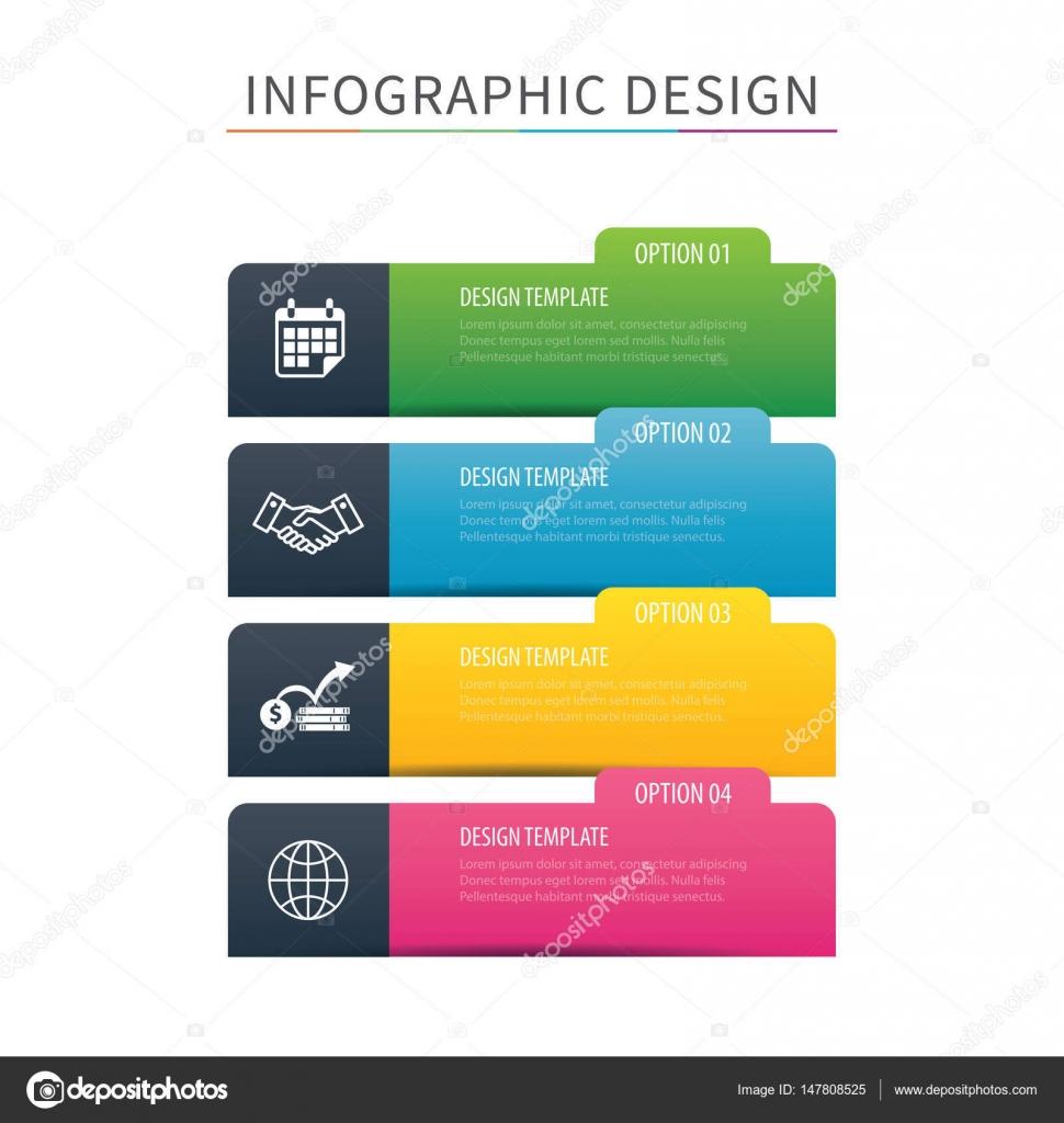 Plantilla de opción 4 infografías ficha Índice. Ilustración de ...