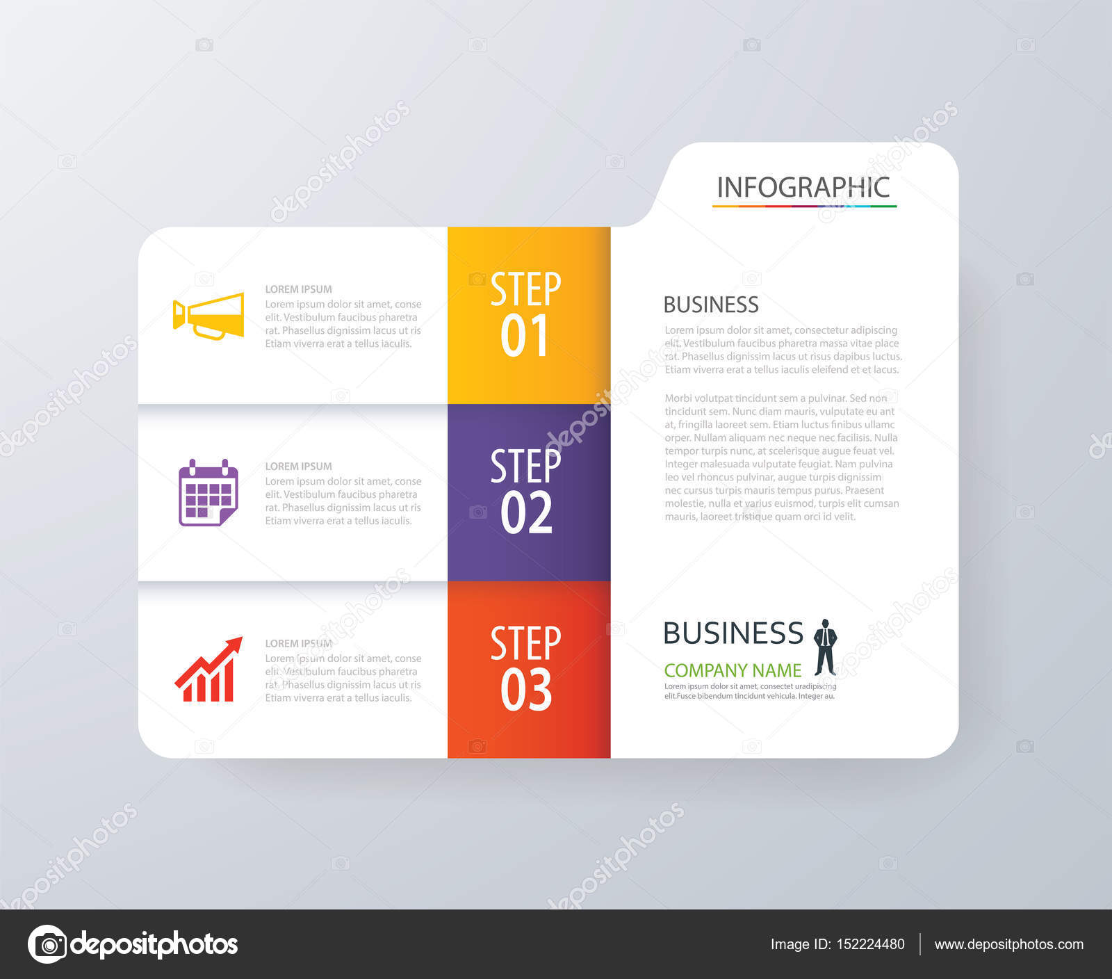 Infographic vertical 3 tab index design vector and marketing tem ...