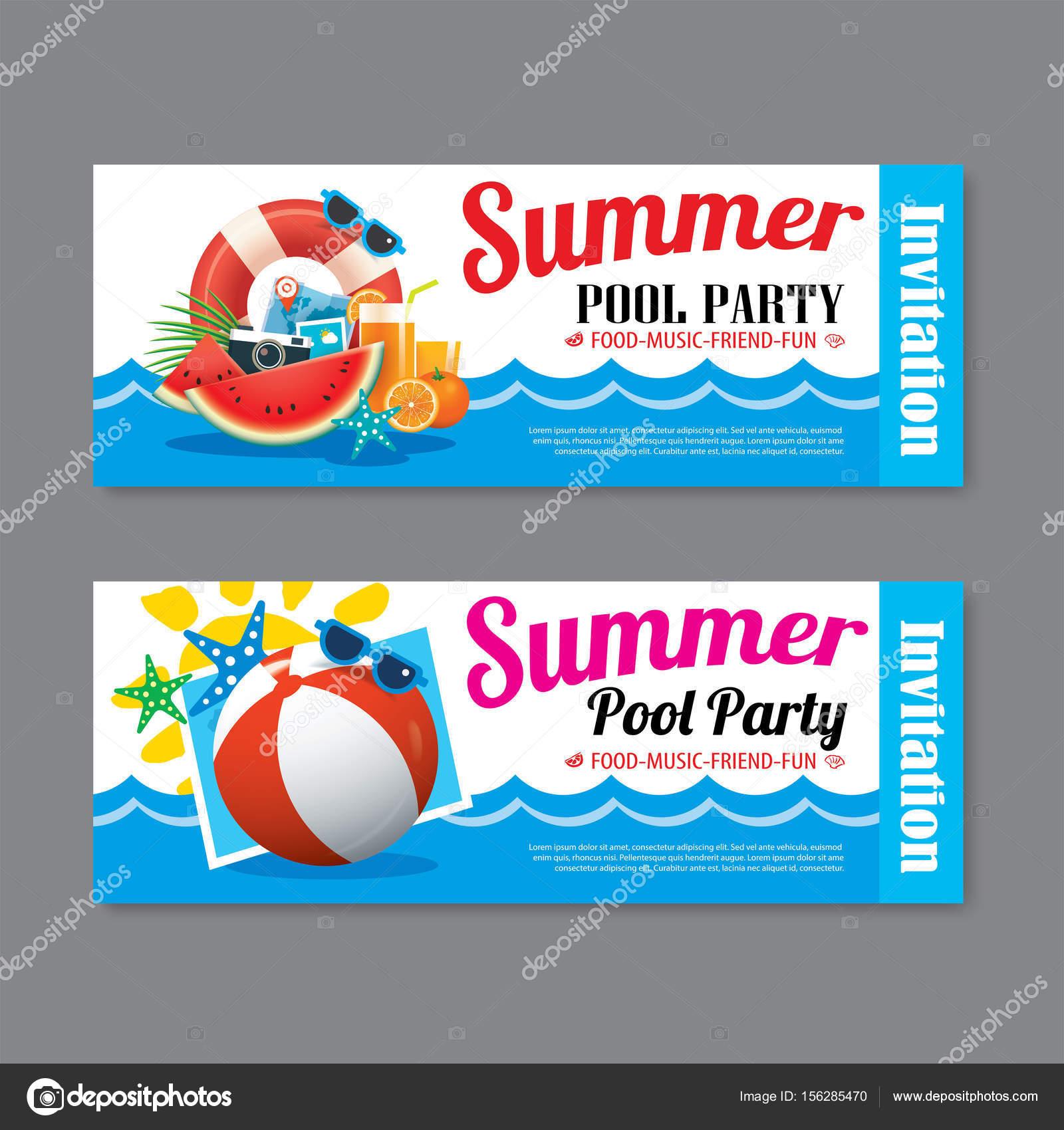 Sommer Pool Party Einladung Ticket Vorlagenhintergrund — Stockvektor ...