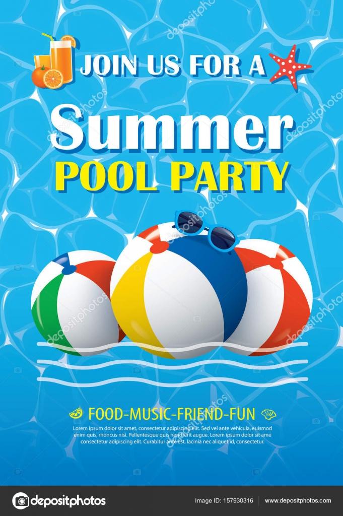 Pool Party Einladung Plakat mit blauem Wasser. Vektor-Sommer ...