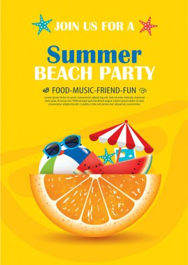 Beach party invitation poster with vacation element .