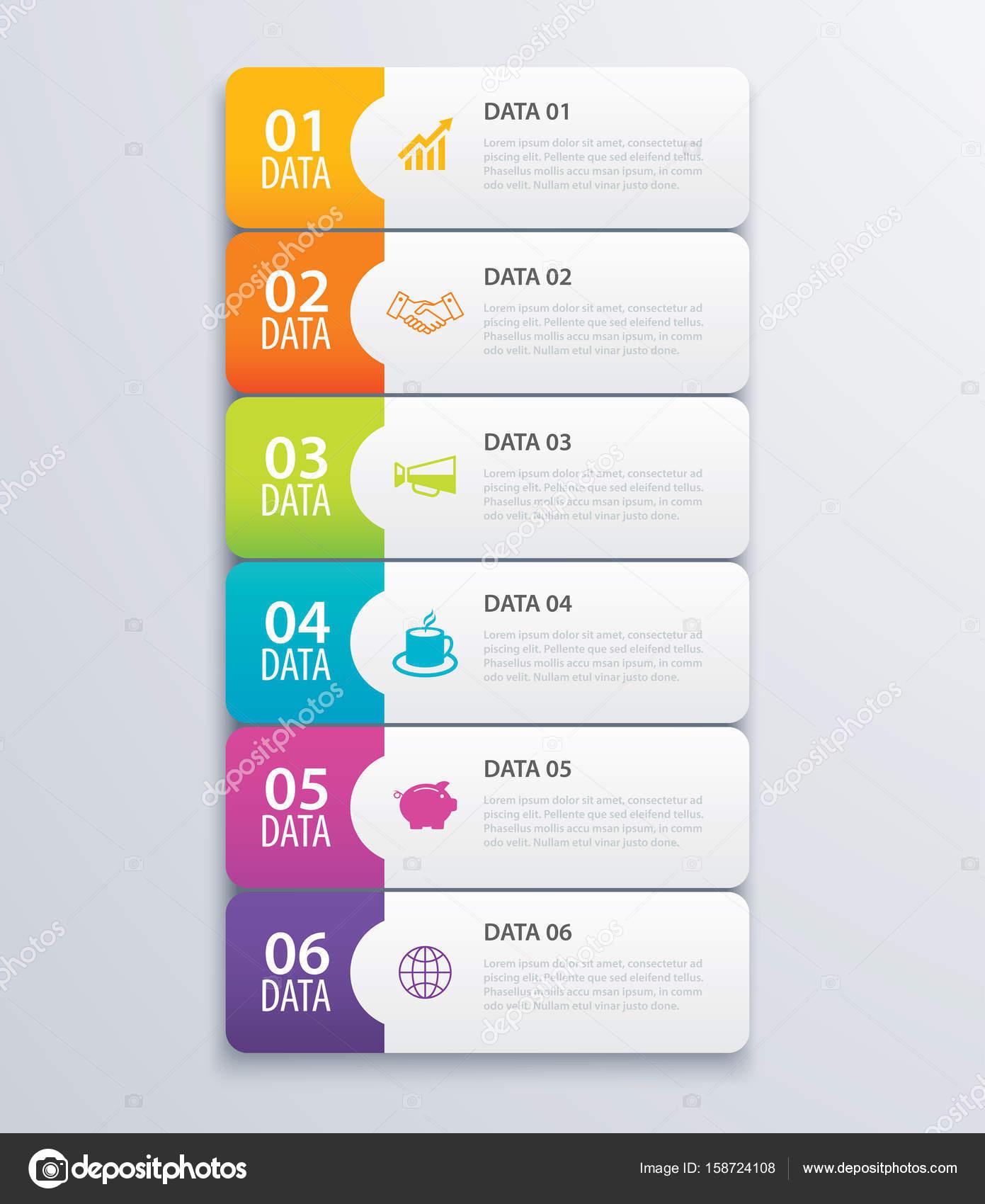 6 infografía ficha Índice banner diseño vector y marketing lineal ...