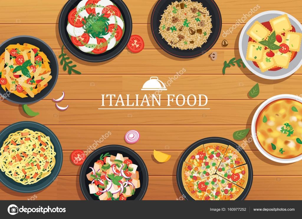 木製のテーブル背景にイタリア料理ベクトル イラスト T ストック