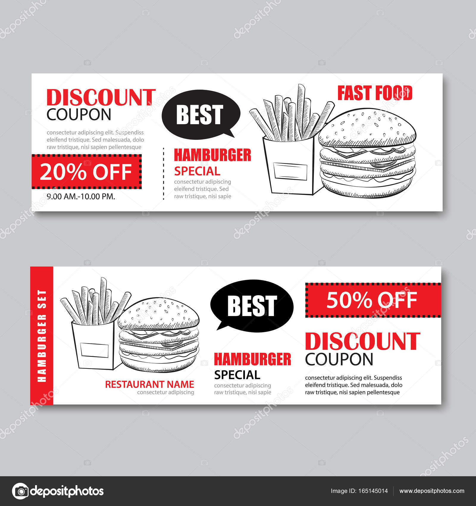 Fast Food Gift Voucher And Coupon Sale Discount Template U2014 Stock Vector  Lunch Voucher Template