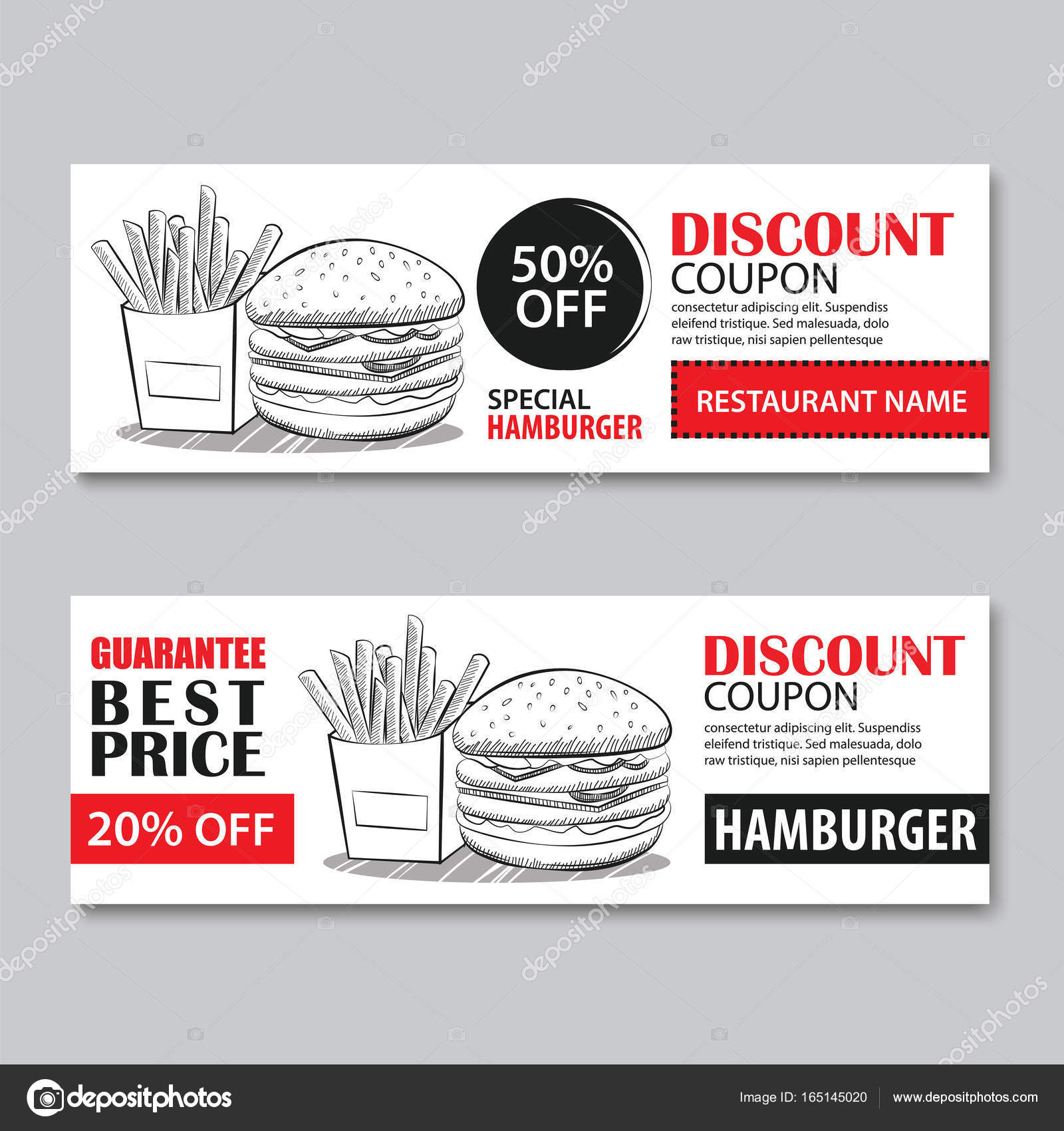Fast Food Gift Voucher And Coupon Sale Discount Template U2014 Stock Vector  #165145020  Lunch Voucher Template