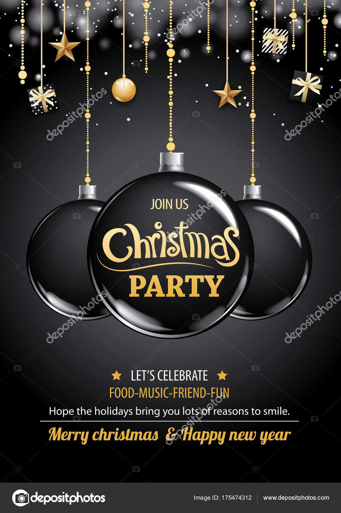 merry christmas party and ball on dark background invitation theme concept happy holiday greeting banner and card design template vector by kaisorn4