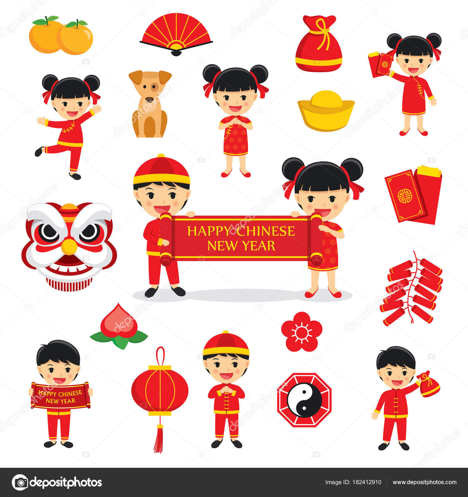 Happy Chinese New Year Decoration Traditional Symbols Set With C