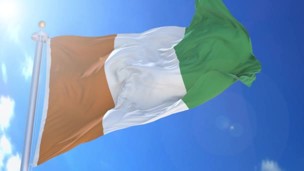 Cote d Ivoire animated flag in the wind with blue sky in the background, green screen, blue screen or isolated background and the flag on the full background, all in one animated flag pack.