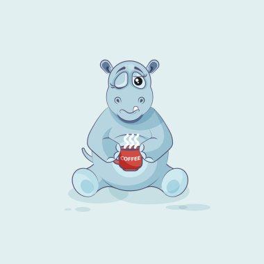 Emoji character cartoon Hippopotamus just woke up with cup of coffee