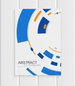 Vector brochure in abstract style with blue shapes on white background