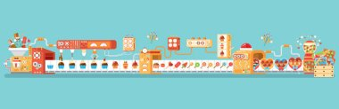horizontal illustration isolated conveyor for production and packaging candies, lollipops sweets, in flat style