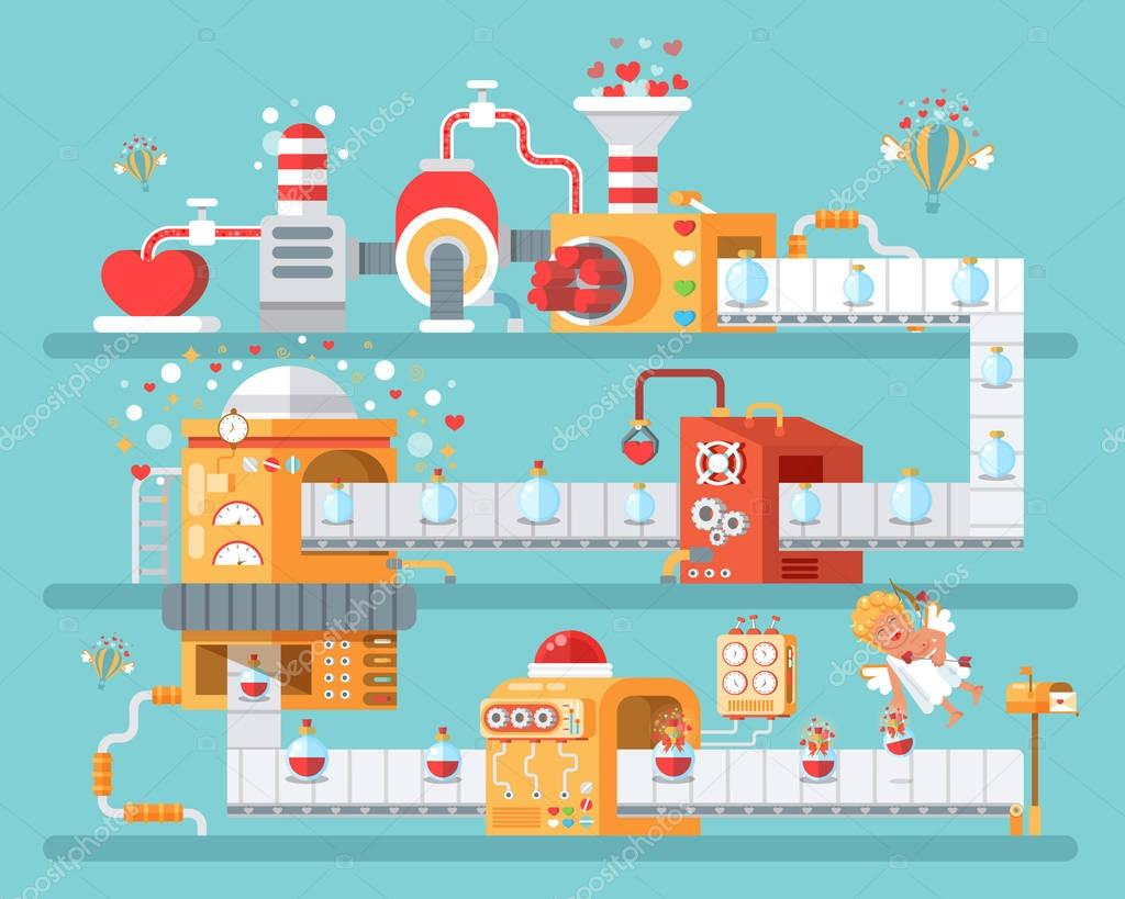vertical illustration of isolated conveyor to create love potion  celebrate Happy Valentines Day in flat style