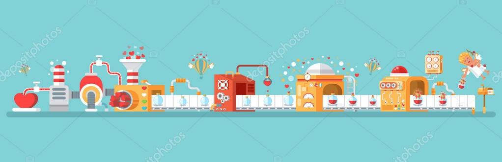 horizontal illustration of isolated conveyor to create love potion celebrate Happy Valentines Day in flat style