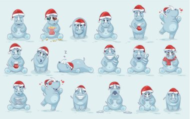 Illustrations isolated emoji character cartoon rhinoceros stickers emoticons with different emotions