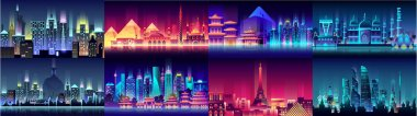Brazil Russian France, Japan, India, Egypt China USA city night neon style architecture buildings town country travel
