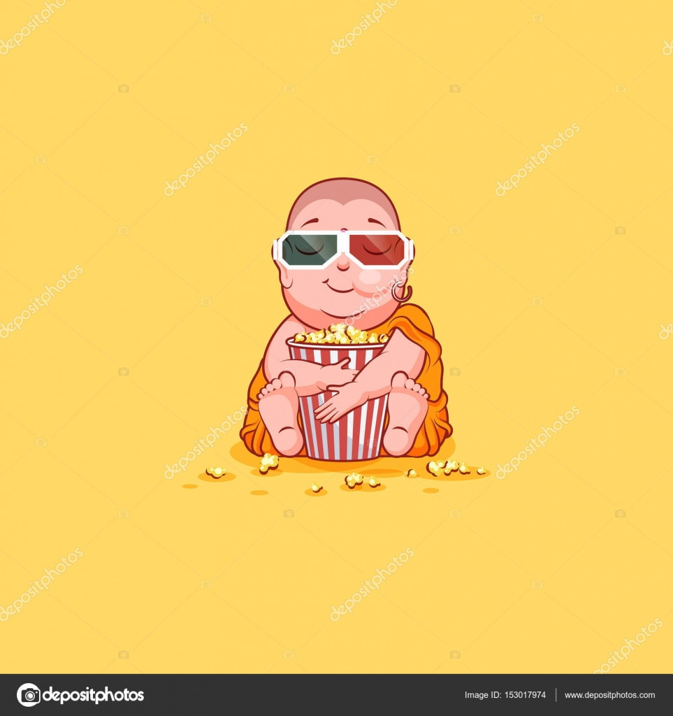 Sticker emoji emoticon emotion vector isolated illustration sticker emoji emoticon emotion vector isolated illustration unhappy character cartoon buddha chewing popcorn watching movie biocorpaavc Image collections