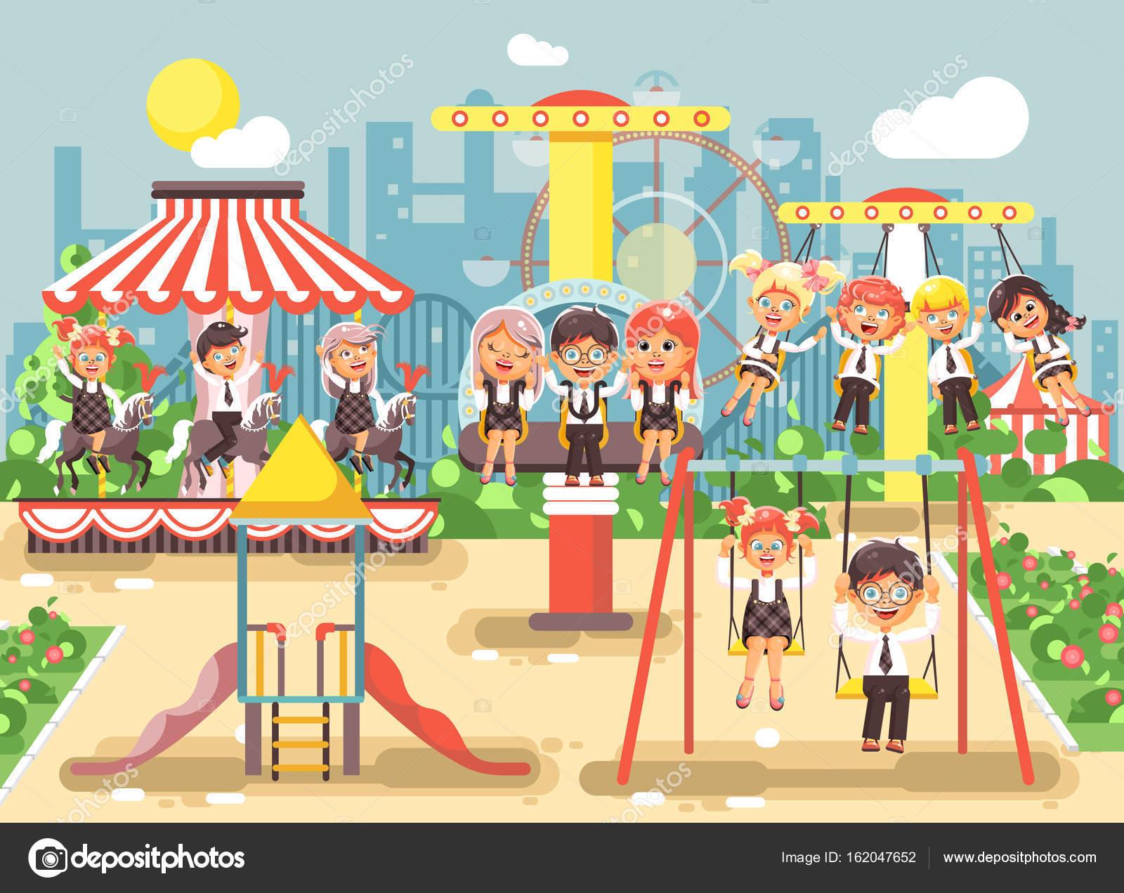 Vektor Illustration Von Comic Figuren Die Kinder Schuler