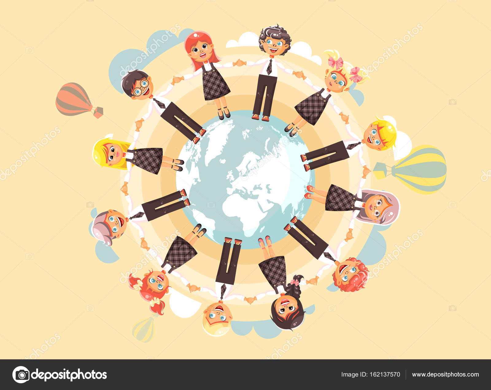 Illustration cartoon characters children holding hands and vector illustration cartoon characters children holding hands and standing in circle of planet earth globe world map gumiabroncs Image collections
