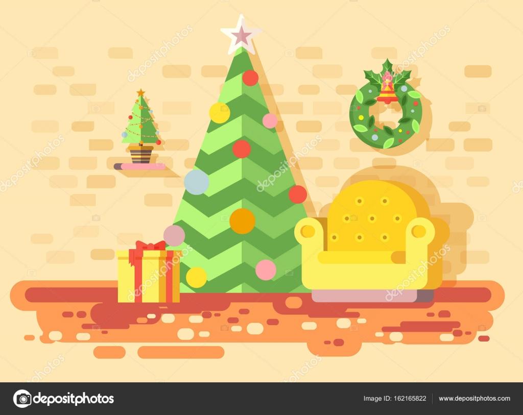 Vector stock illustration dessin animé maison intérieur chaise confortable chambre avec sapin épinette happy new year guirlande de noël joyeux