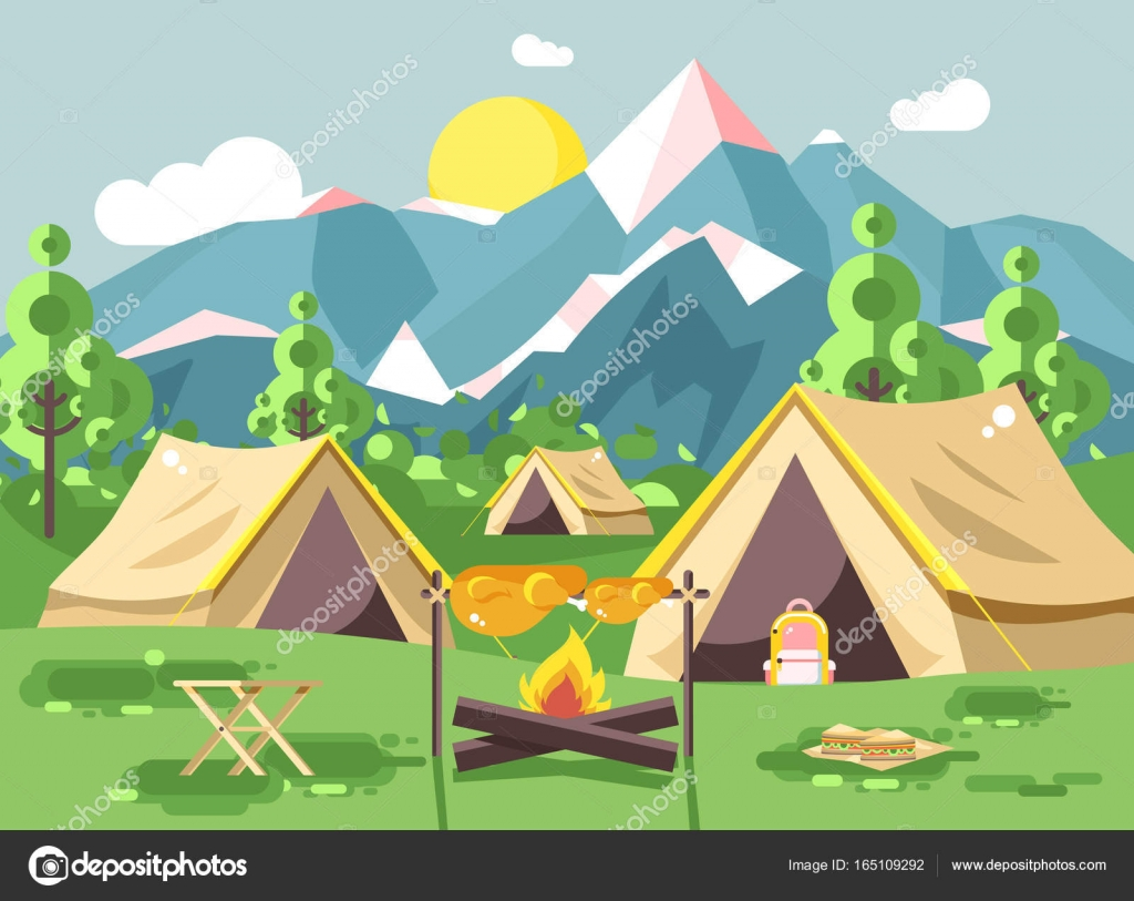Stock vector illustration c&ing with tents on nature fry chicken meat on open fire bonfire with firewood grill adventure park outdoor background of ...  sc 1 st  Depositphotos & Vector illustration camping with tents on nature fry chicken meat ...