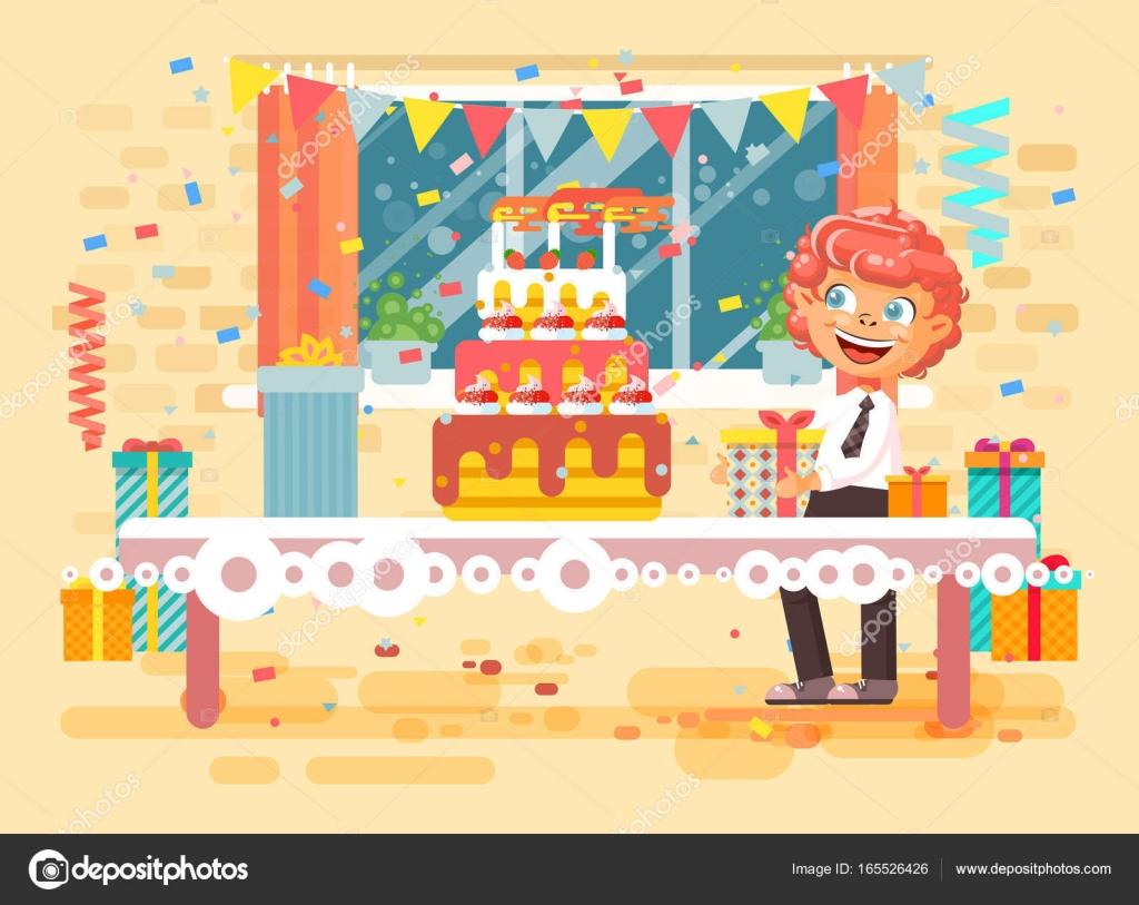 Vector illustration cartoon caractère enfant rousse lonely boy célébrer joyeux anniversaire féliciter offrez des cadeaux