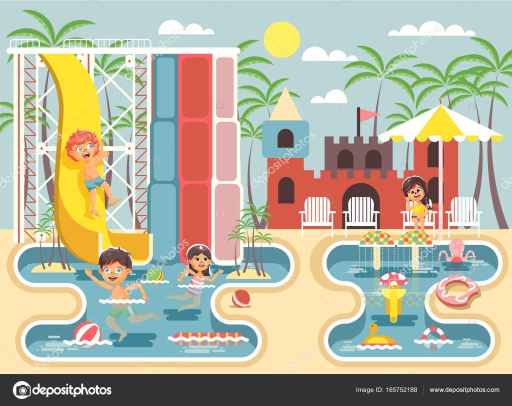 El Parque De Atracciones De Dibujos Animados Ven A Jugar: Vector Ilustración Dibujos Animados Personajes Los Niños