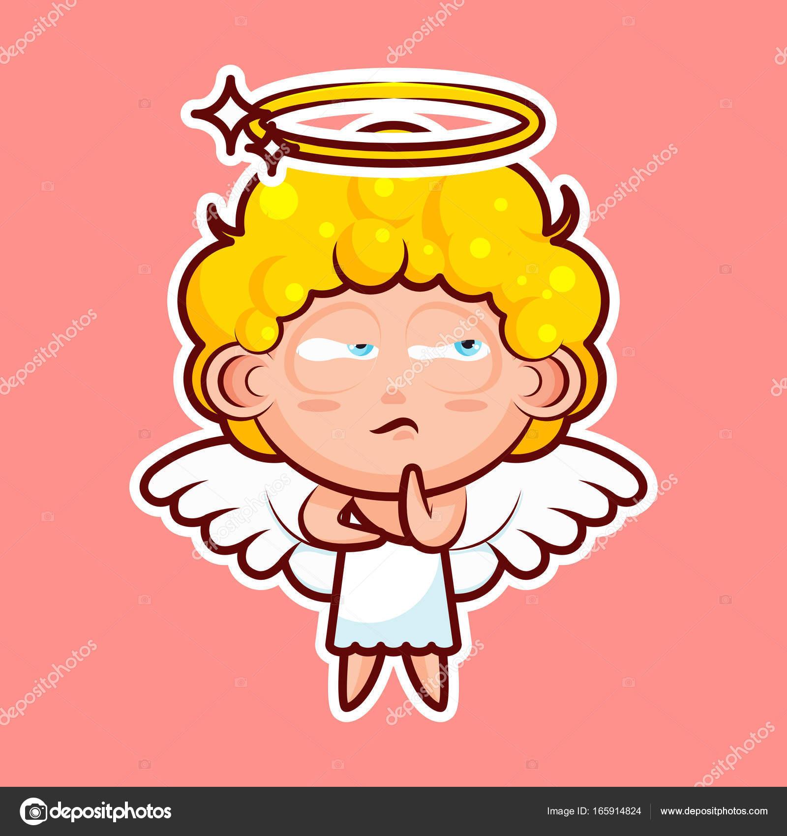 イラスト文字甘い神の実体かわいい天国の天使聖霊翼放射ヘイロー