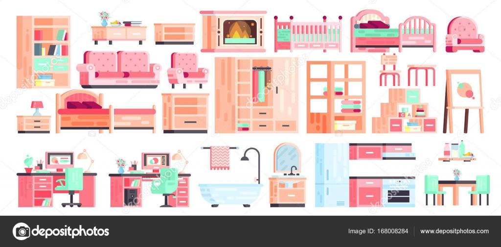 Großen Set Kit Sammlung Vektor Isolierende Ikonen Der Möbel Für Badezimmer  Interieur, Kinderzimmer, Küche, Büro, Schlafzimmer, Spiele, Kamin Mit Couch  Und ...