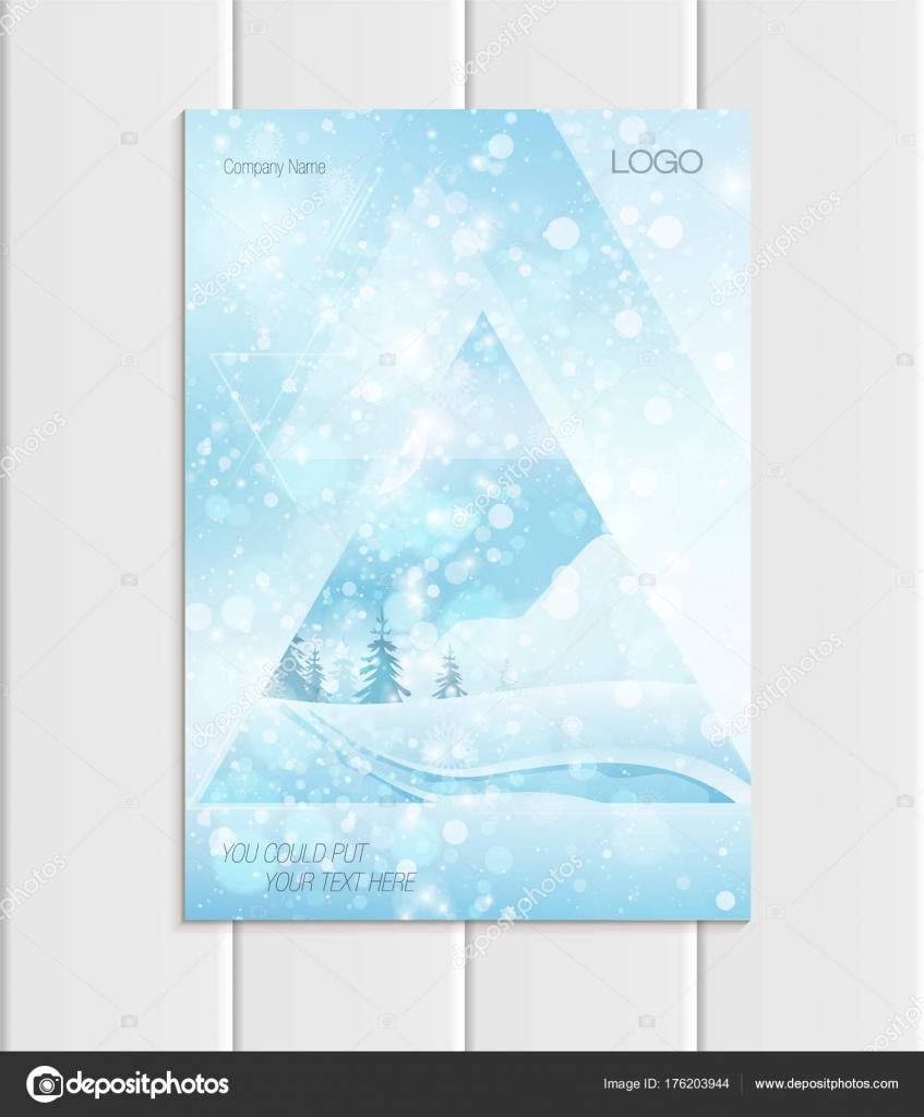 noel 2018 pleine lune Brochure de vecteur A5 ou A4 format Noël Nouvel an 2018 élément  noel 2018 pleine lune