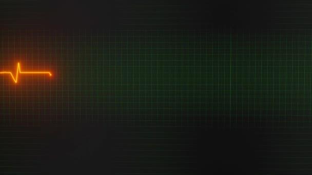 Herzschlaglinie, die auf dem Monitor reflektiert wird, 3D-Darstellung.