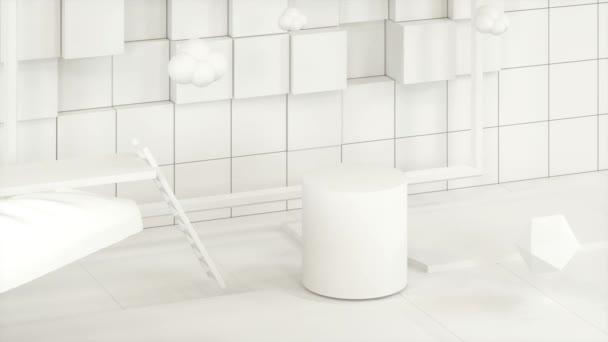 Bílá stuha mává v kresleném pokoji, 3D vykreslování.