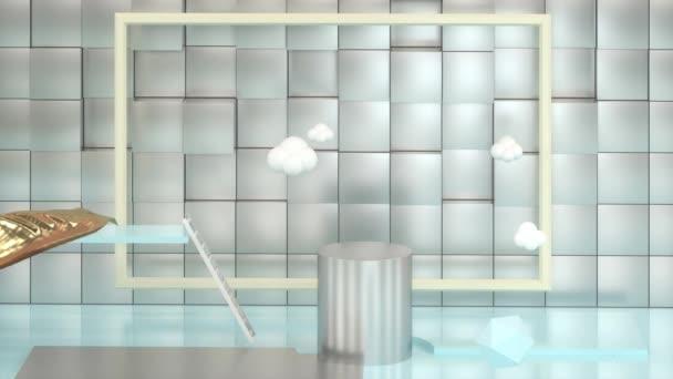Kreslená místnost s abstraktními geometriemi, 3D vykreslování.
