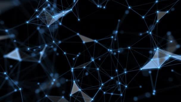 Technologie Netzwerk und Kommunikation mit Zeile und Punkt Bewegung mit Übertragungsinformationen Datenleitung und Punkt auf blauem Hintergrund.