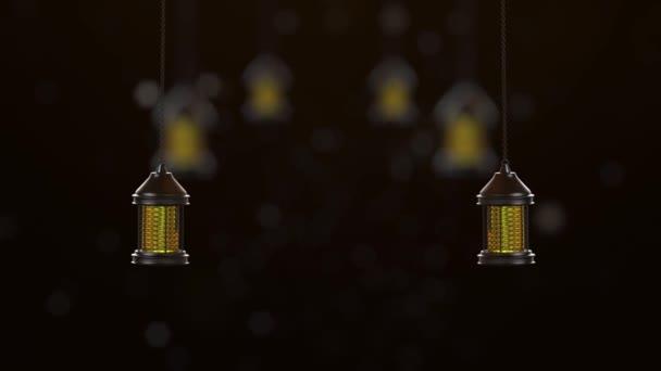 Laterne der Ramadan-Kerze hängt auf schwarzem Hintergrund