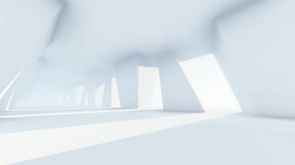 3D animation, Rectangular Walls And Bright Light With Futuristic Empty White Corridor