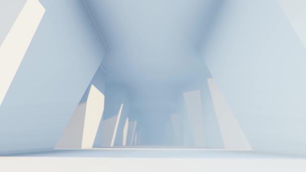 3D animace, obdélníkové stěny a jasné světlo s futuristickým prázdným bílým koridorem