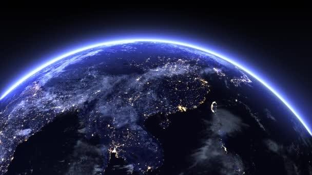 3D-Hintergrund, 3D-Erde mit Wolken in der Nacht