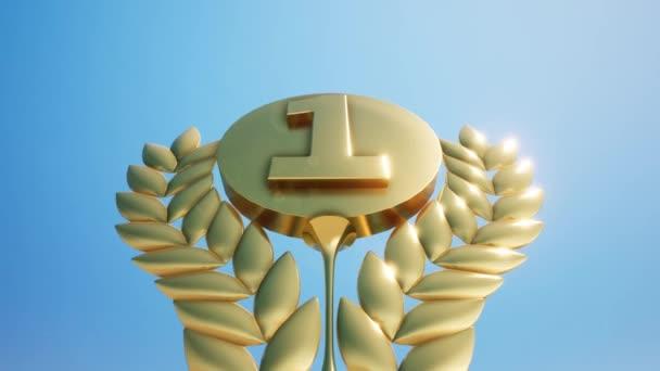 3D pozadí, první místo zlato číslo jedna s oblohou