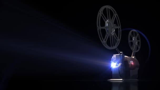 3D-Hintergrund, Kinoprojektor funktioniert. Projektor-Lichtstrahl reflektiert