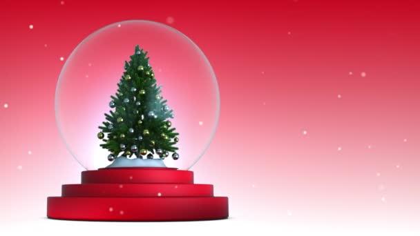 3D-Hintergrund, Christmas Snow Globe mit rotem Hintergrund