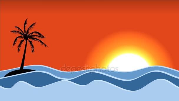 Palma con delfini di salto e del fumetto di mare