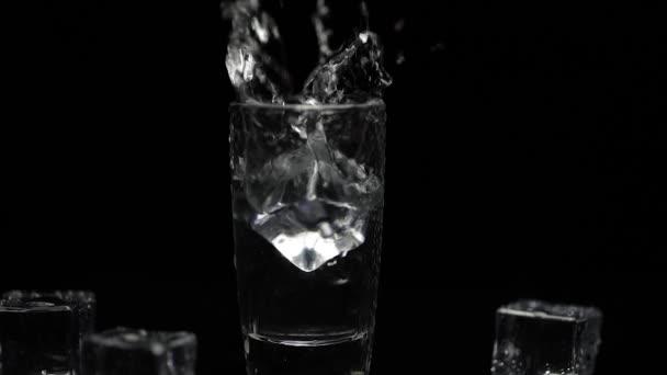 Eiswürfel zu einem Schuss Wodka im Glas vor schwarzem Hintergrund hinzufügen. Alkoholgetränk