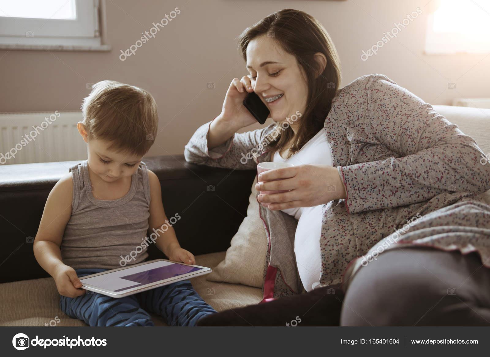 Imágenes Madres Solteras Embarazadas Mujer Embarazada Beber Café