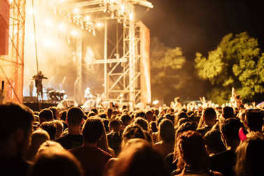 People at open air music concert