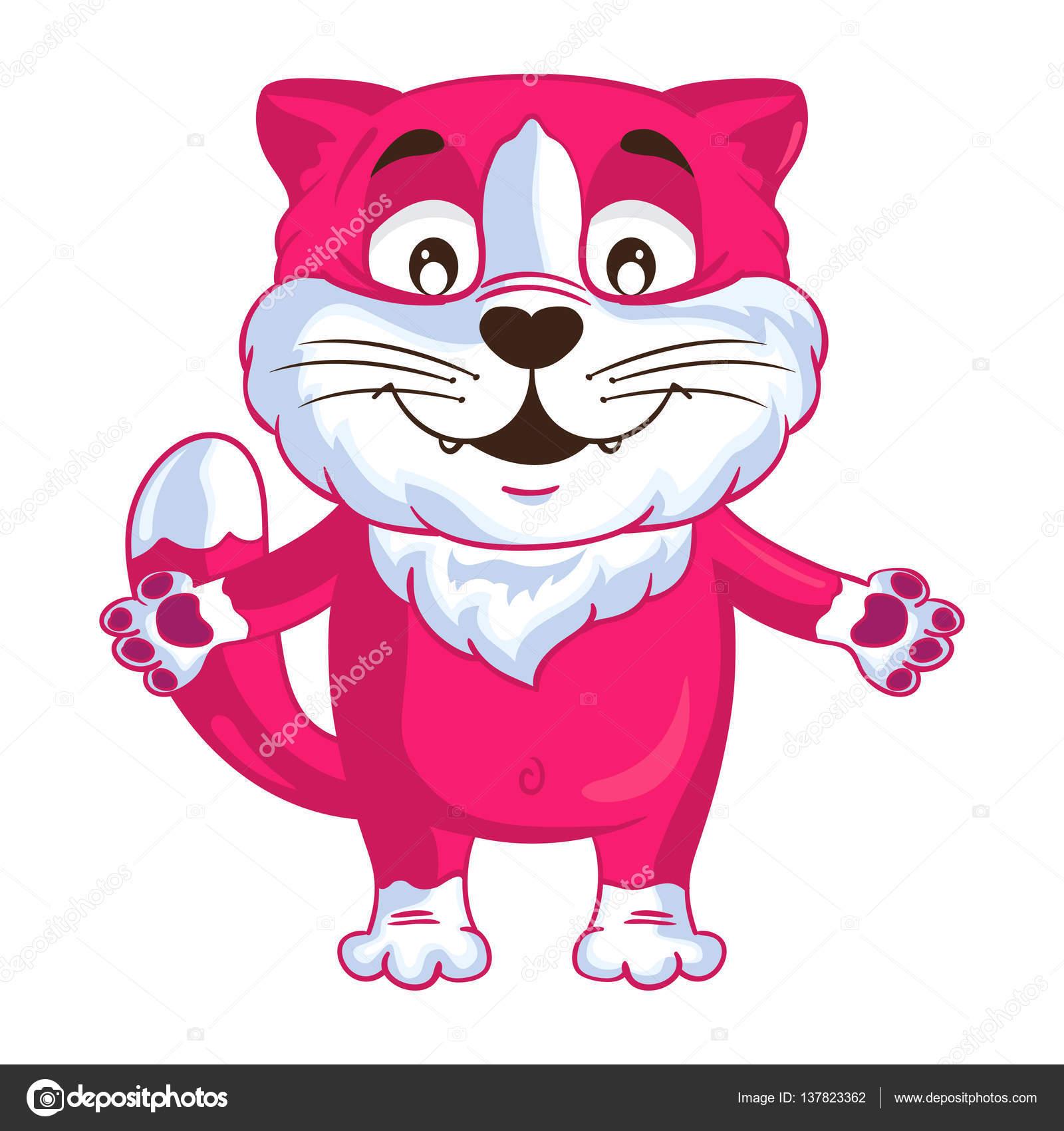 Gato de dibujos animados vector rosa puso sus manos para abrazar ...