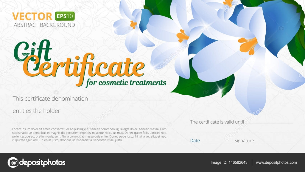 Gift certificate or voucher template for cosmetics treatments with ...
